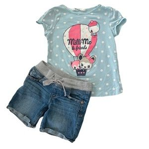Outfit Jean Shorts & Tee Shirt H&M Justice